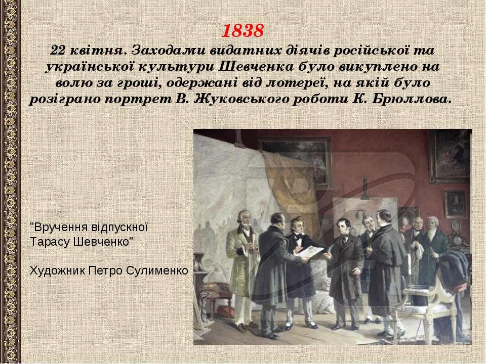 1838 22 квітня. Заходами видатних діячів російської та української культури Ш...