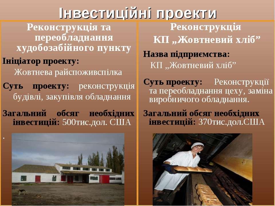 Інвестиційні проекти Реконструкція та переобладнання худобозабійного пункту І...