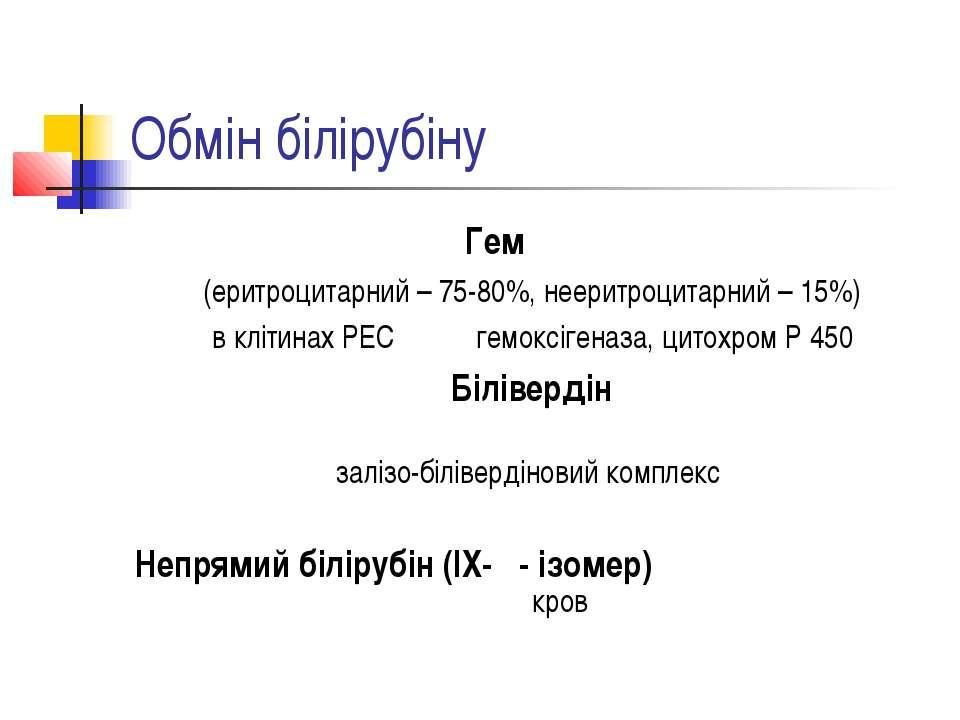 Обмін білірубіну Гем (еритроцитарний – 75-80%, нееритроцитарний – 15%) в кліт...