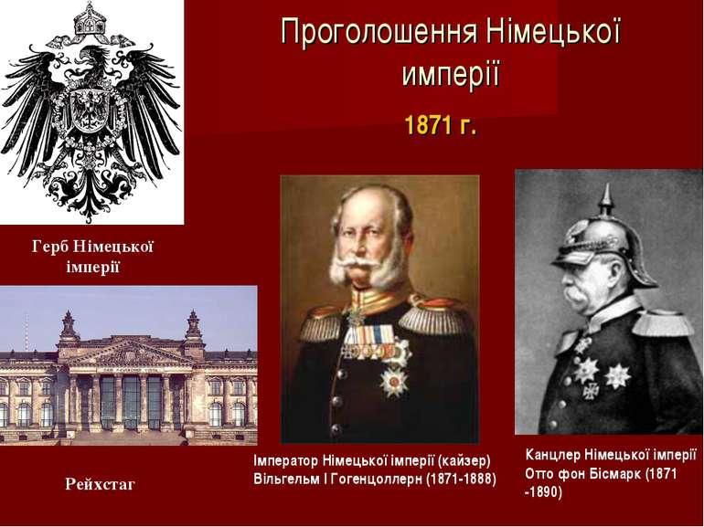 Проголошення Німецької имперії I Імператор Німецької імперії (кайзер) Вільгел...