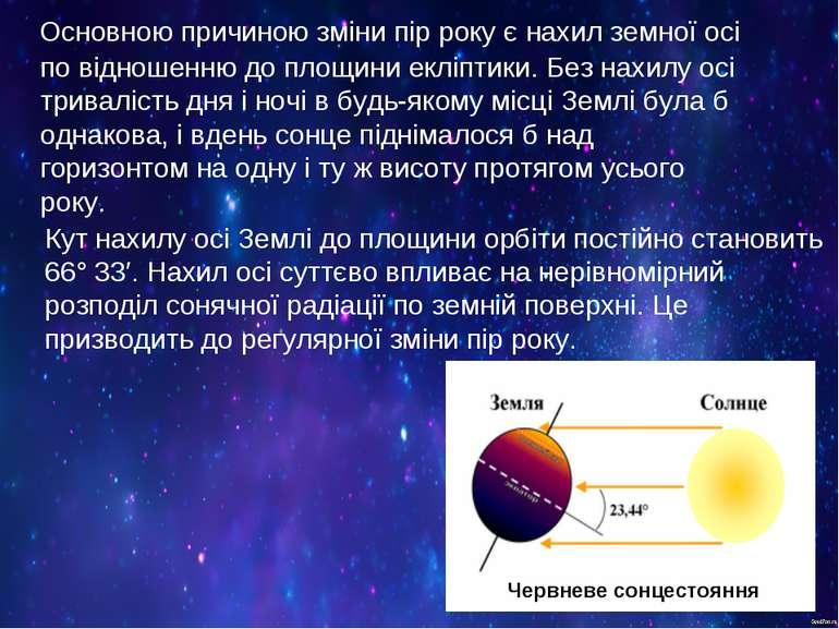 Основною причиною зміни пір року є нахил земної осі по відношенню до площини ...