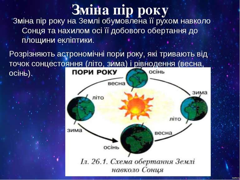 Зміна пір року Зміна пір року на Землі обумовлена її рухом навколо Сонця та н...