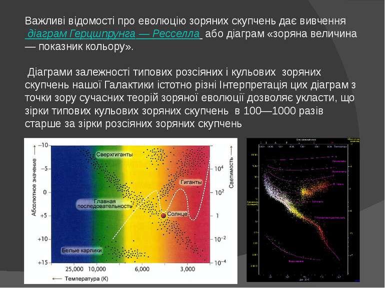 Важливі відомості про еволюцію зоряних скупчень дає вивчення діаграм Герцшпр...