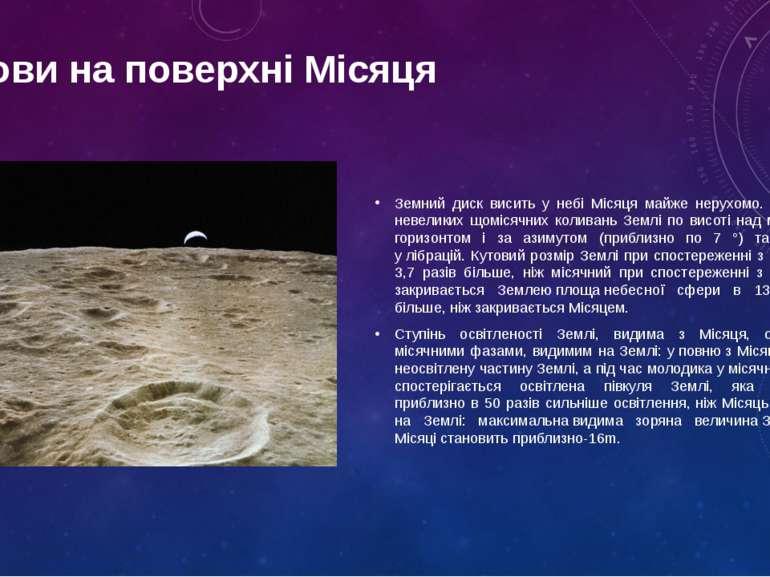 Земний диск висить у небі Місяця майже нерухомо. Причини невеликих щомісячних...