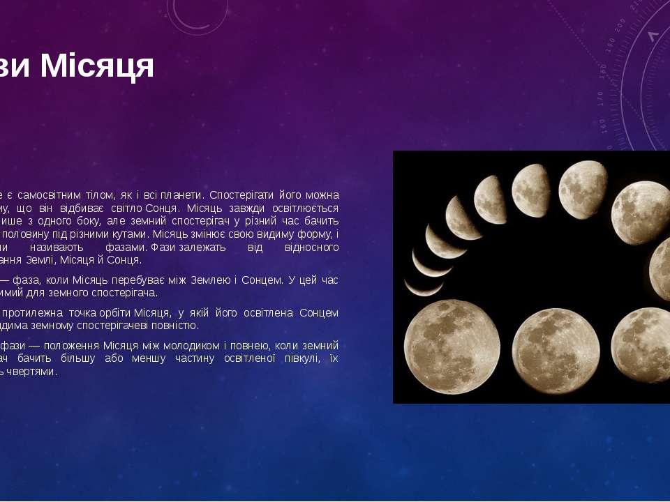 Місяць не є самосвітним тілом, як і всіпланети. Спостерігати його можна лише...