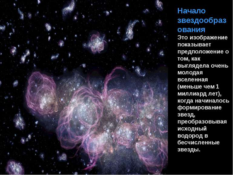 Початок зореутворення Це зображення показує припущення про те, як виглядала д...