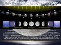 Спостереження фаз Місяця з Землі Місяць сама не світиться, і ми бачимо її тіл...