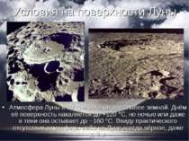 Умови на поверхні Місяця Атмосфера Місяця в 10 трильйонів раз слабше земного....