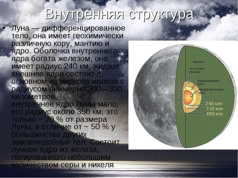 Внутрішня структура Місяць - диференційоване тіло, вона має геохимически різн...