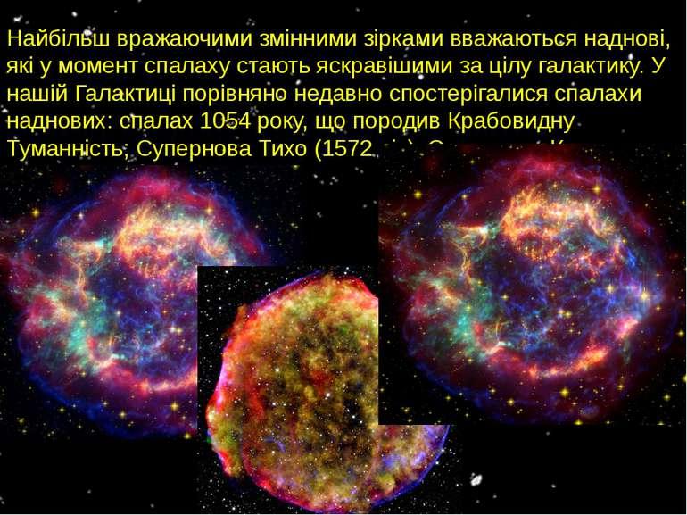 Найбільш вражаючими змінними зірками вважаються наднові, які у момент спалаху...