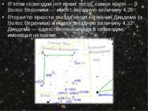 У цьому сузір'ї немає яскравих зірок, найяскравіша - β Волосся Вероніки - має...