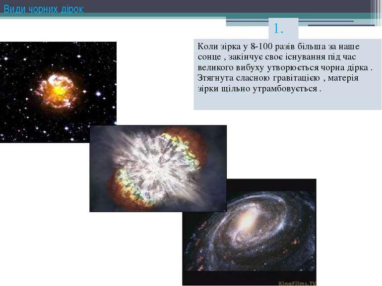 Види чорних дірок 1. Коли зірка у 8-100 разів більша за наше сонце , закінчує...