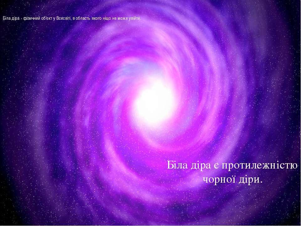 Біла діра - фізичний об'єкт у Всесвіті, в область якого ніщо не може увійти. ...