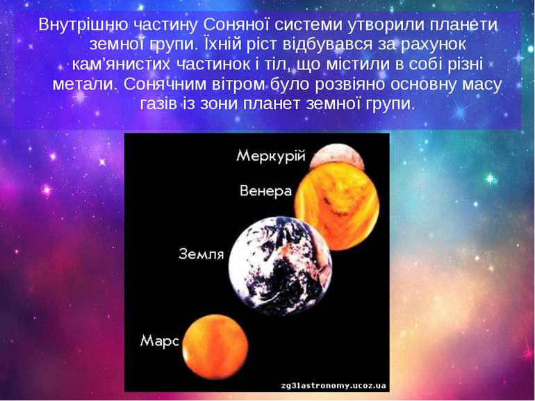 Внутрішню частину Соняної системи утворили планети земної групи. Їхній ріст в...
