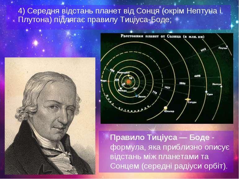 4) Середня відстань планет від Сонця (окрім Нептуна і Плутона) підлягає прави...