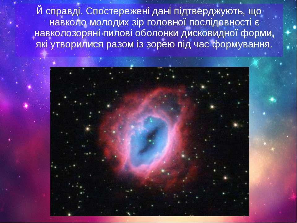 Й справді. Спостережені дані підтверджують, що навколо молодих зір головної п...
