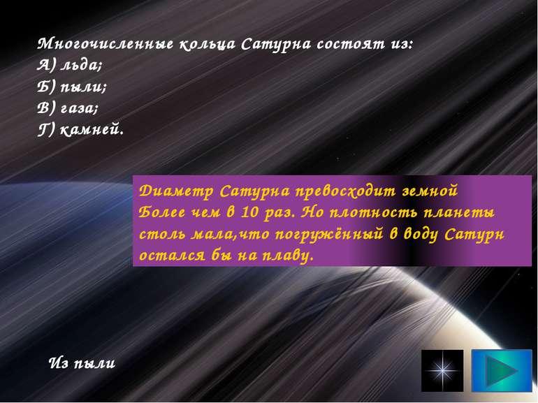 Численні кільця Сатурна складаються з: А) льоду; Б) пороху; В) газу; Г) камен...