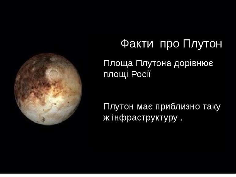 Факти про Плутон Площа Плутона дорівнює площі Росії Плутон має приблизно таку...