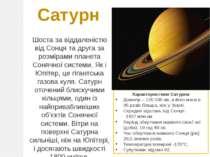 Сатурн Шоста за віддаленістю від Сонця та друга за розмірами планета Сонячної...