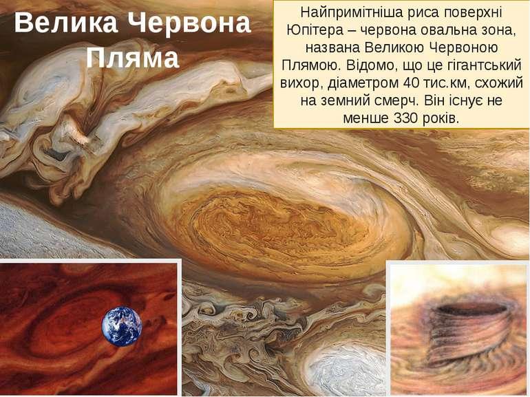 Найпримітніша риса поверхні Юпітера – червона овальна зона, названа Великою Ч...