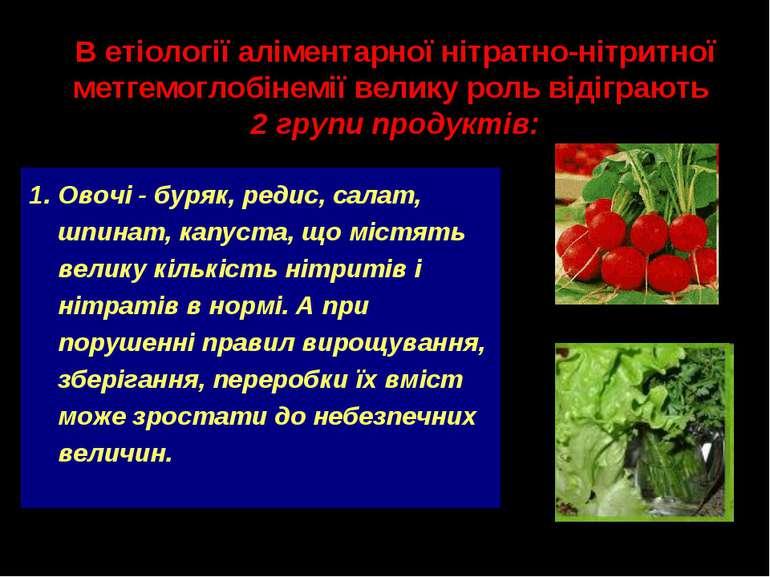 Овочі - буряк, редис, салат, шпинат, капуста, що містять велику кількість ніт...
