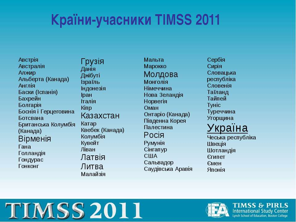 Країни-учасники TIMSS 2011 Австрія Австралія Алжир Альберта (Канада) Англія Б...