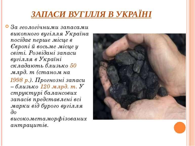 ЗАПАСИ ВУГІЛЛЯ В УКРАЇНІ За геологічними запасами викопного вугілля Україна п...