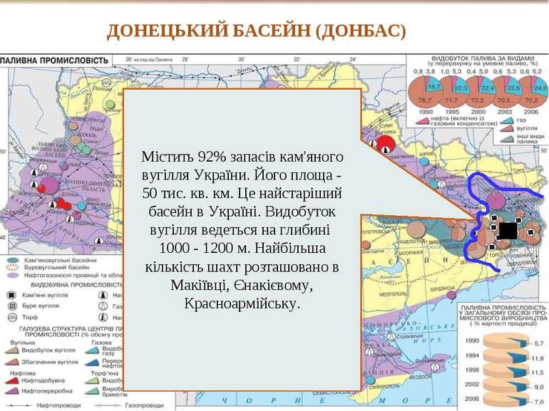 Містить 92% запасів кам'яного вугілля України. Його площа - 50 тис. кв. км. Ц...