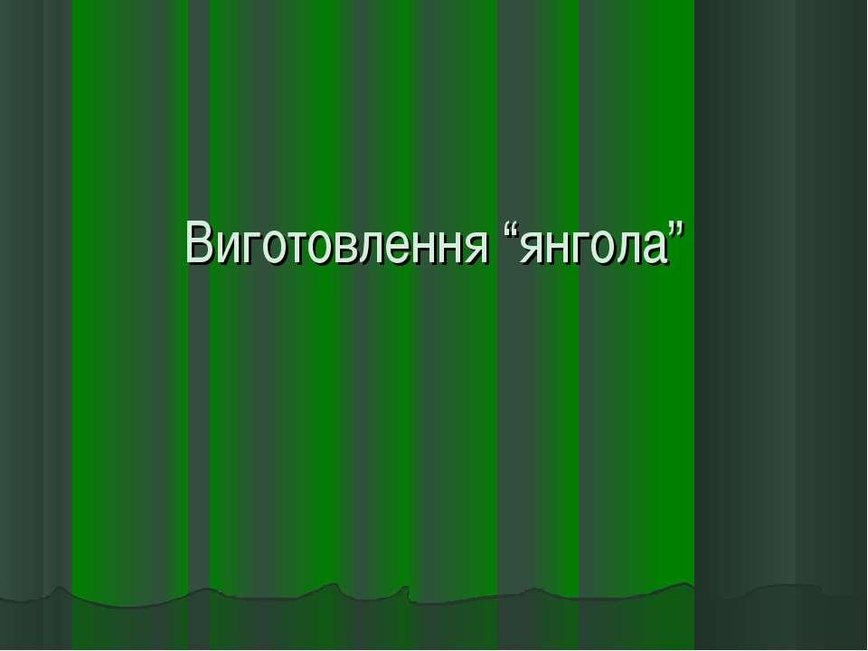 """Виготовлення """"янгола"""""""