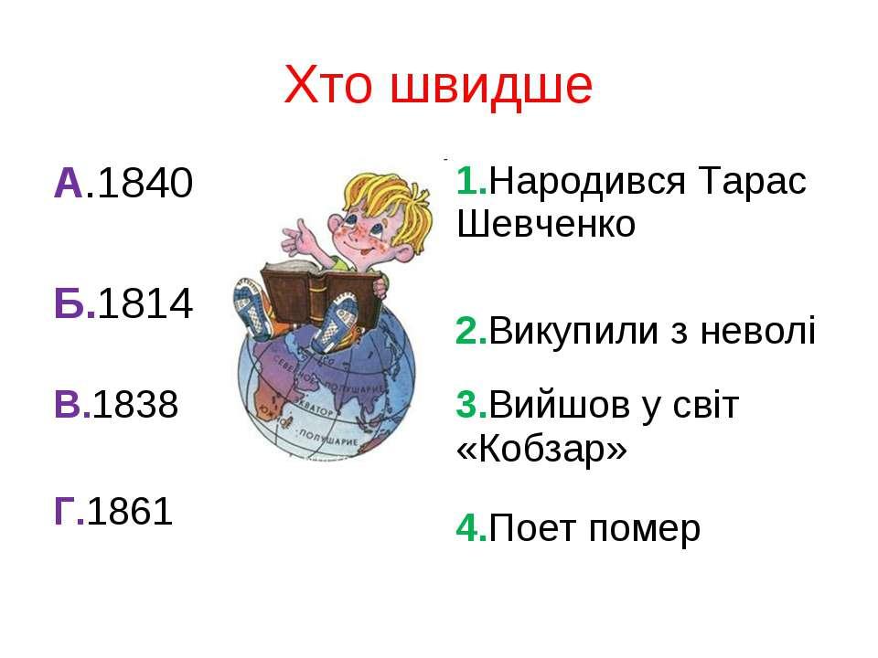 А.1840 Б.1814 1.Народився Тарас Шевченко 2.Викупили з неволі В.1838 Г.1861 3....