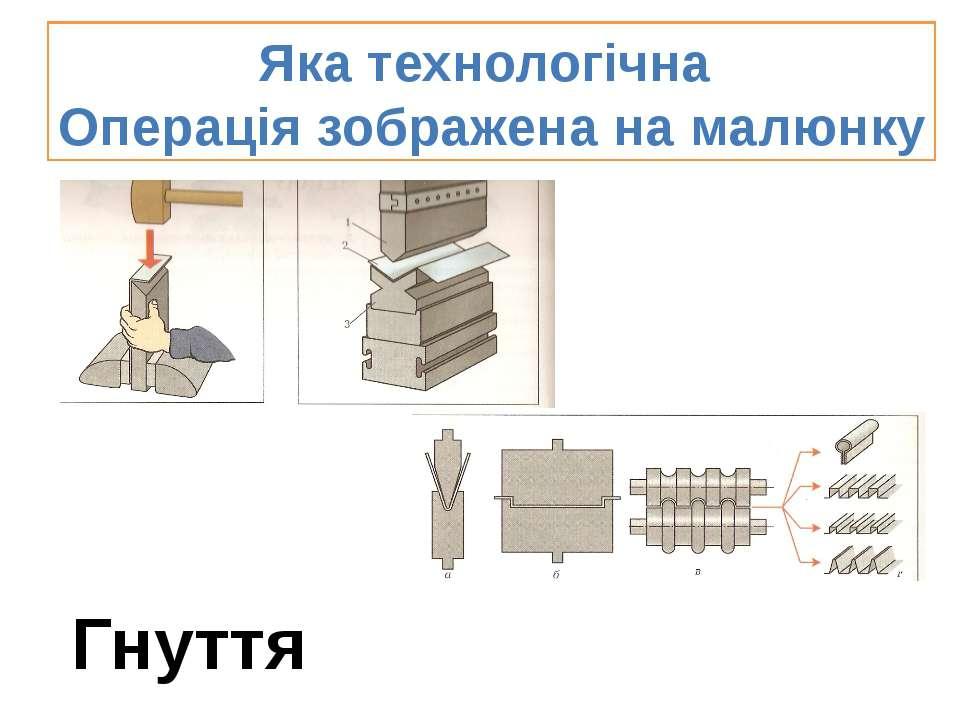 Яка технологічна Операція зображена на малюнку Гнуття
