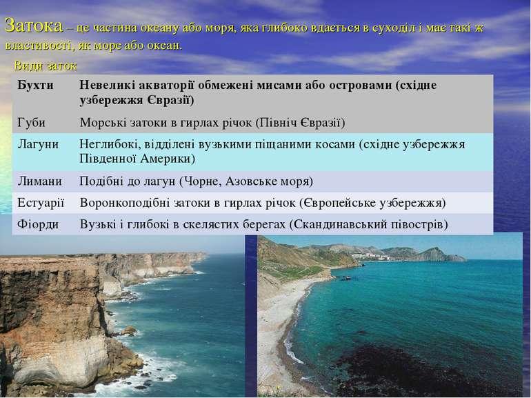Затока – це частина океану або моря, яка глибоко вдається в суходіл і має так...
