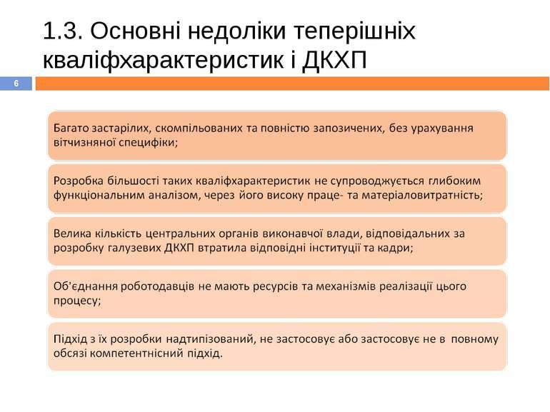 1.3. Основні недоліки теперішніх кваліфхарактеристик і ДКХП *