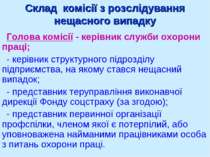 Склад комісії з розслідування нещасного випадку Голова комісії - керівник слу...