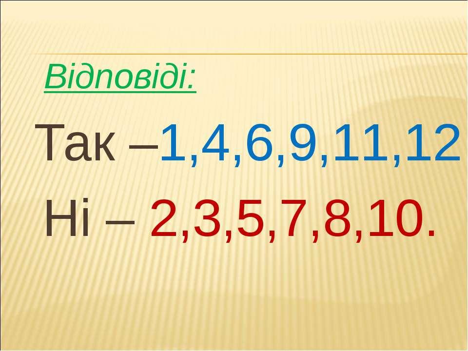 Відповіді: Так –1,4,6,9,11,12 Ні – 2,3,5,7,8,10.