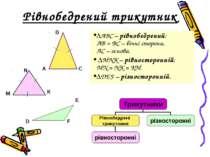 Рівнобедрений трикутник ΔАВС – рівнобедрений; АВ = ВС – бічні сторони, АС – о...