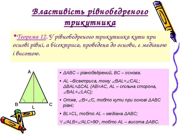 Властивість рівнобедреного трикутника Теорема 12. У рівнобедреного трикутника...
