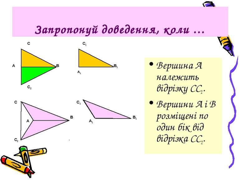 Запропонуй доведення, коли … Вершина А належить відрізку СС2. Вершини А і В р...