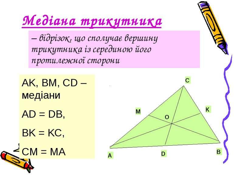 Медіана трикутника – відрізок, що сполучає вершину трикутника із серединою йо...