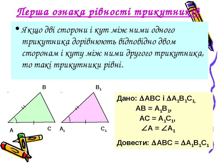 Перша ознака рівності трикутників Якщо дві сторони і кут між ними одного трик...