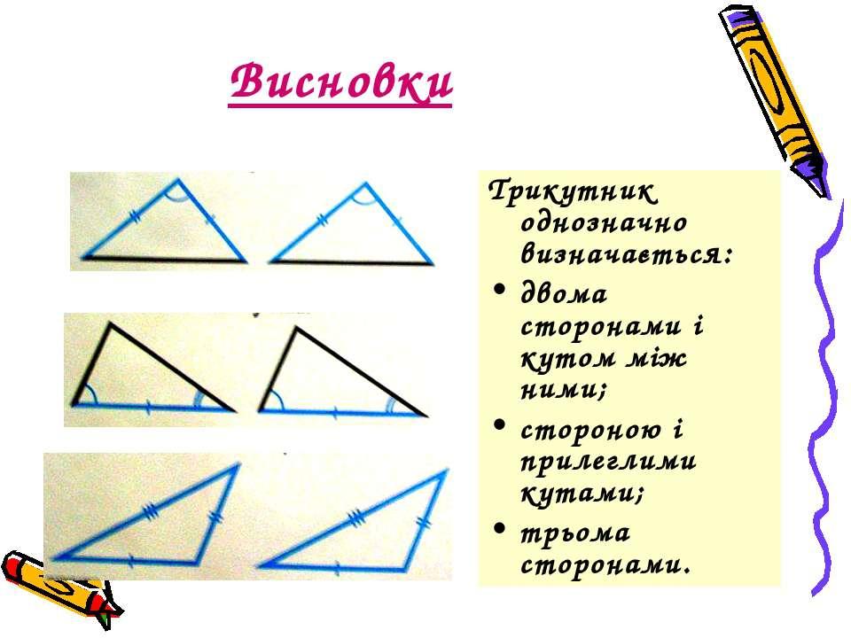 Висновки Трикутник однозначно визначається: двома сторонами і кутом між ними;...