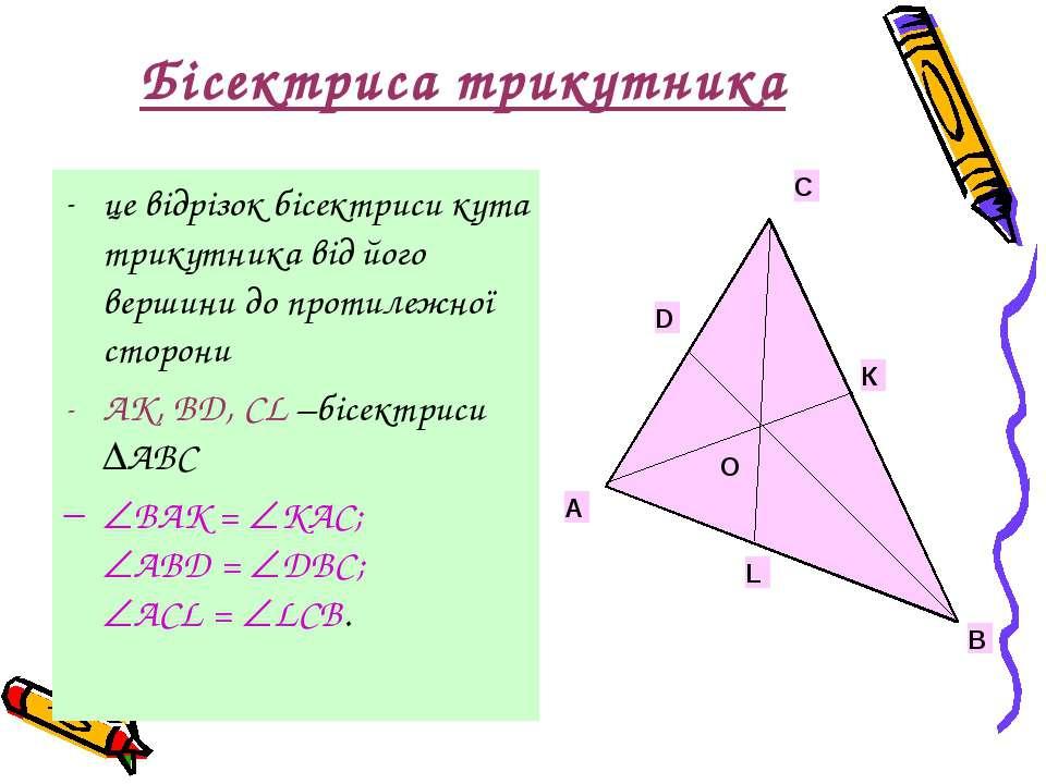 Бісектриса трикутника це відрізок бісектриси кута трикутника від його вершини...