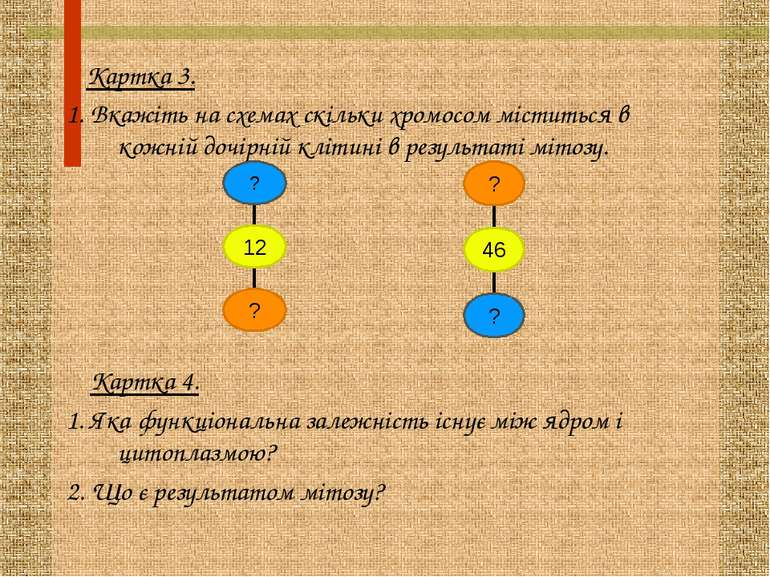 Картка 3. 1. Вкажіть на схемах скільки хромосом міститься в кожній дочірній к...