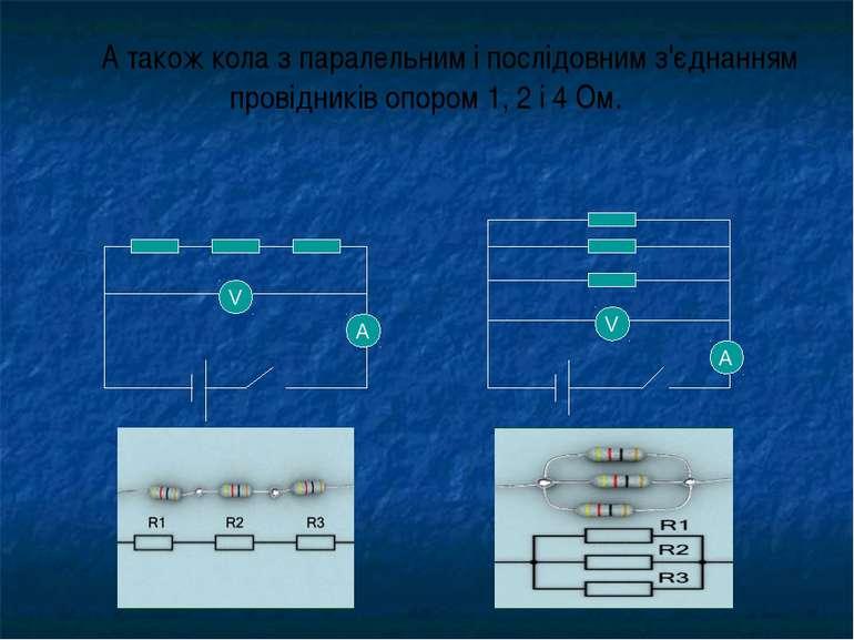 А також кола з паралельним і послідовним з'єднанням провідників опором 1, 2 і...
