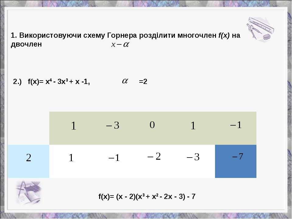 2.) f(x)= x4 - 3x3 + x -1, =2 f(x)= (x - 2)(x3 + x2 - 2x - 3) - 7