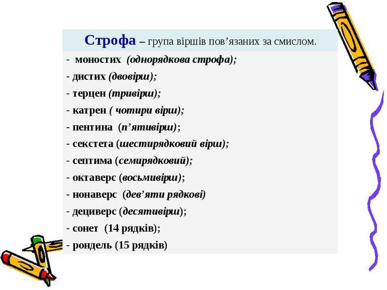 Строфа – група віршів пов'язаних за смислом. - моностих (однорядкова строфа);...