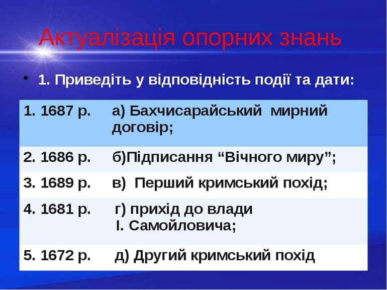 Актуалізація опорних знань 1. Приведіть у відповідність події та дати: 1.1687...