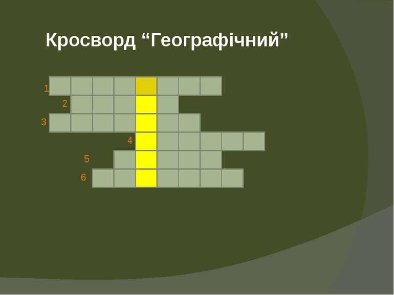 """Кросворд """"Географічний"""" 1 2 3 4 5 6"""