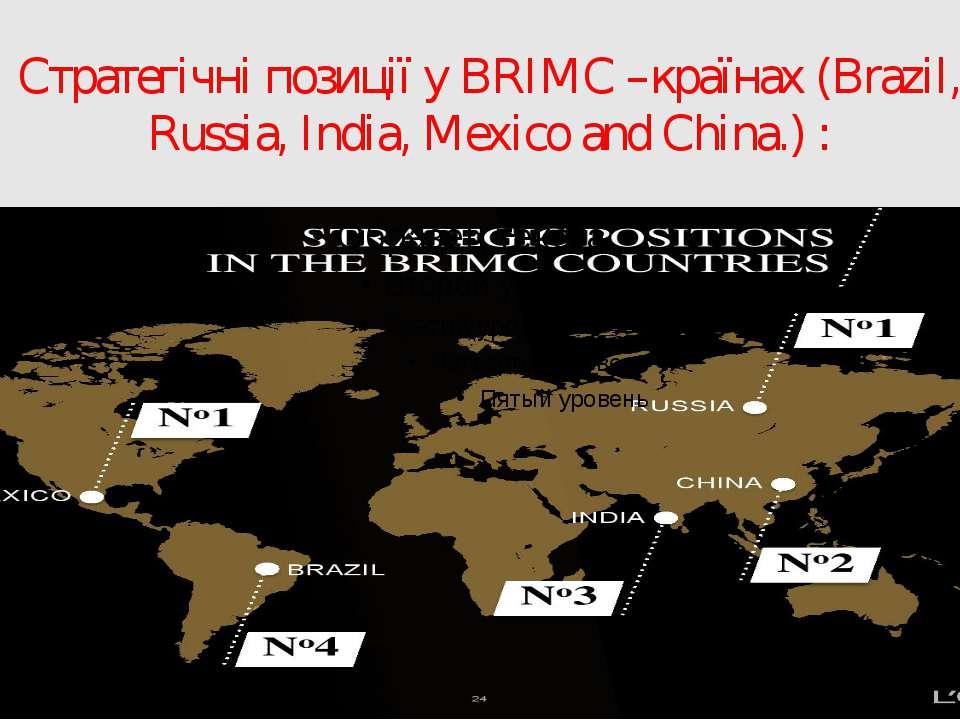 Стратегічні позиції у BRIMC –країнах (Brazil, Russia, India, Mexico and China...