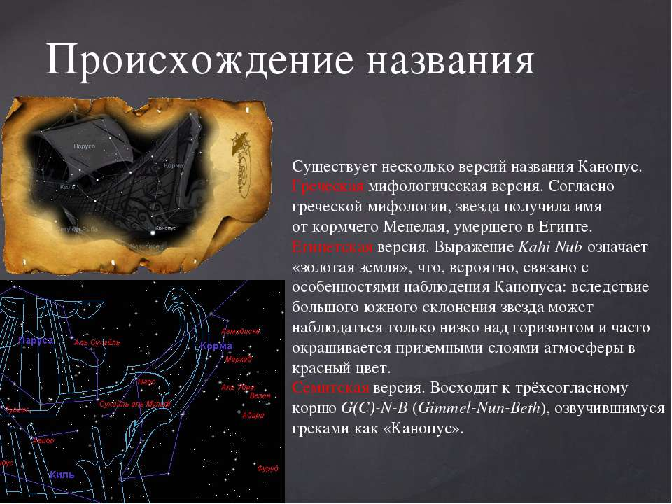 Походження назви Існує кілька версій назви Канопус. Грецька міфологічна версі...